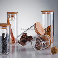 Glass Jar Borosilicate Canister Different Size with Bamboo Lid and Silicone Sealing Ring, Candy Spice Tea Nuts Cereal Storage