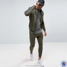 zip up opening taped sleeve hoodies and skinny joggers mens tracksuit in khaki