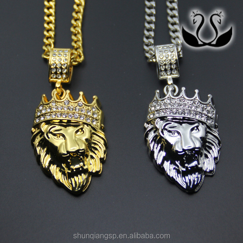 Fashion hip hop mens gold plated crown lion piece pendant jewelry