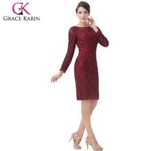 Grace Karin Knee Length Red Long Sleeves Mother of The Bride Lace Dresses CL6278