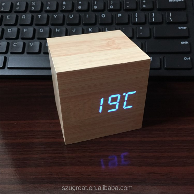 Cube LED Digital Alarm Clock Square Modern Wood Clock Thermometer