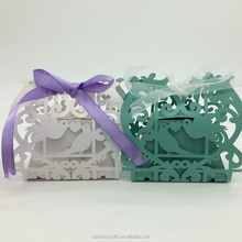 2016new White,Green Love Birds Laser Cut Wedding Paper Candy Box with Ribbons chocolate favour box baby shower birthday