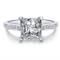 925 sterling silver Ring with Platinum plated cubic zirconia rhinestone for girl romantic wedding Charm rings LSR079