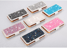 Crystal Bling Diamond PU Leather Stand Flip Case For iphone 5 5s