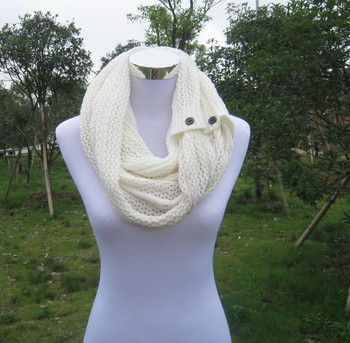 fashion women's open weave Nellie knit scarf with buttons
