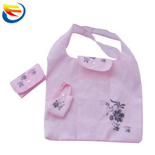 Little fresh pink polyester folding tote shopping bag promotional foldable shopping bag