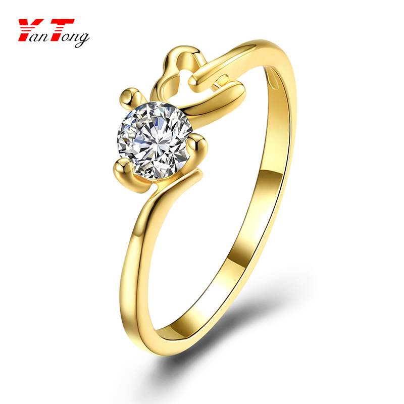 Wholesale Promotion Cheap but Quality 2 Gram White Single Cz Stone Gold Ring Price $0.71