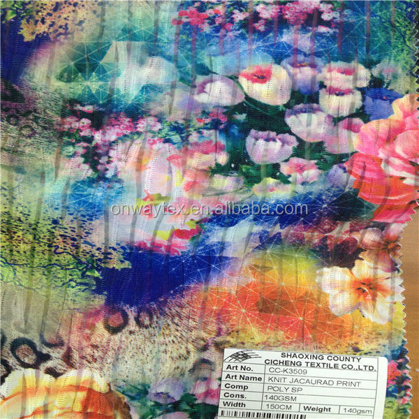 Shaoxing Onway Make-to-order Air layer flower printed knitting fabric for thermal underwear