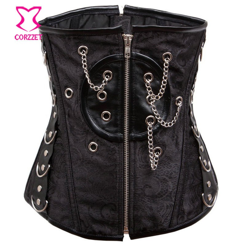Gothic Black Brocade & Leather Body Open Hot Sexy xxxl Movies Back Pain Corset