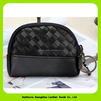 16439 Nice woven pattern handmade leather coin purse