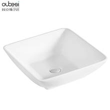 Square no hole white top selling art bathroom ware sink face wash basin price