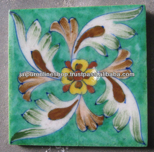 World Wide Exports Handmade Blue pottery Brush Painting Tiles