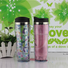 500ml double wall plastic paper insert coffee cup with lid outdoor travel mug custom