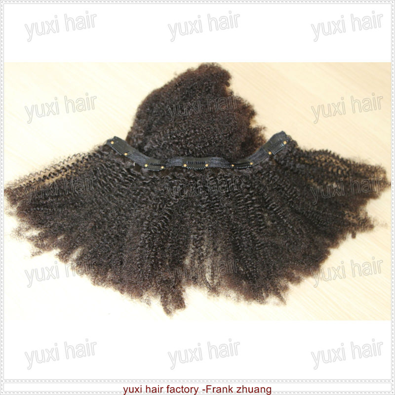 Highest quality Virgin kinky curly clip in hair extension