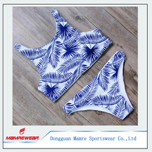 Sexy swimsuit womens swimwear leaf pattern bodysuit cut out summer beach swimsuit, spandex breathable swimwear designs