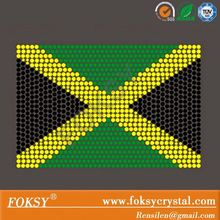 Jamaica flag hotfix rhinestone transfer design