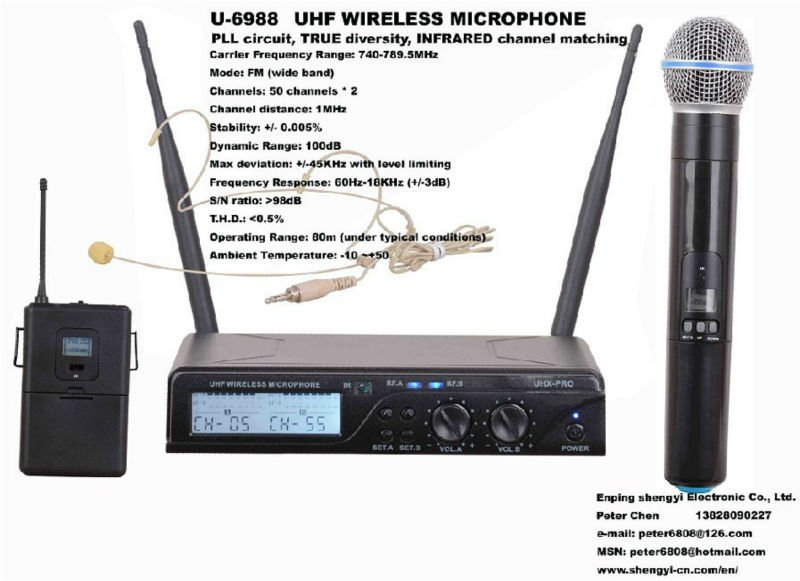 New!!!Dual channel wireless system,UHF small size,wireless microphone