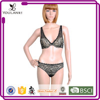 Super Quality Beautiful Young Women Black Fancy Bra And Panties Transparent Lace Panty Set