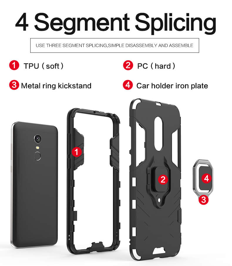 Car mount magnetic attraction ring kickstand protective case for xiaomi redmi note 5,ring phone case for xiaomi redmi 5 plus