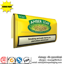 custom printing plastic material s amber leaf tobacco 50g pouch