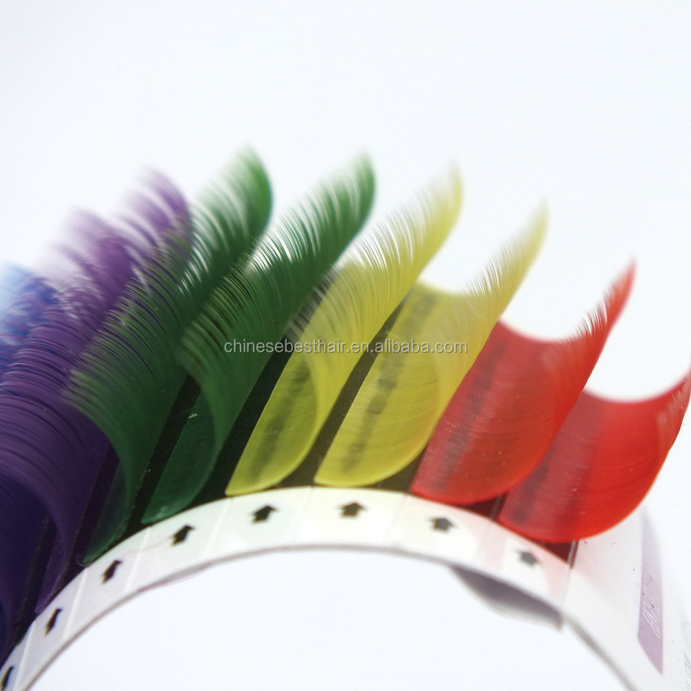 Custom private label own brand Silk Synthetic individual rainbow color Lashes extensions