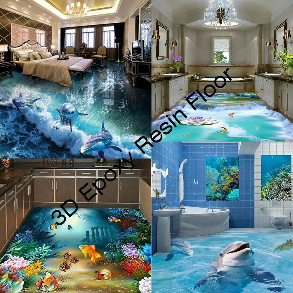 Scratch Resistant 3D Epoxy Resin Floor for Bathroom