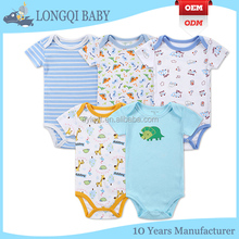 Cheap Wholesale Unisex Infant Baby Plain Blank Solid Knit Cotton Rib Short Sleeve Onesie/Creeper/Bodysuit