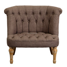 French country style oak wood upholstery occasional chair/ provincial button tufted accent chair