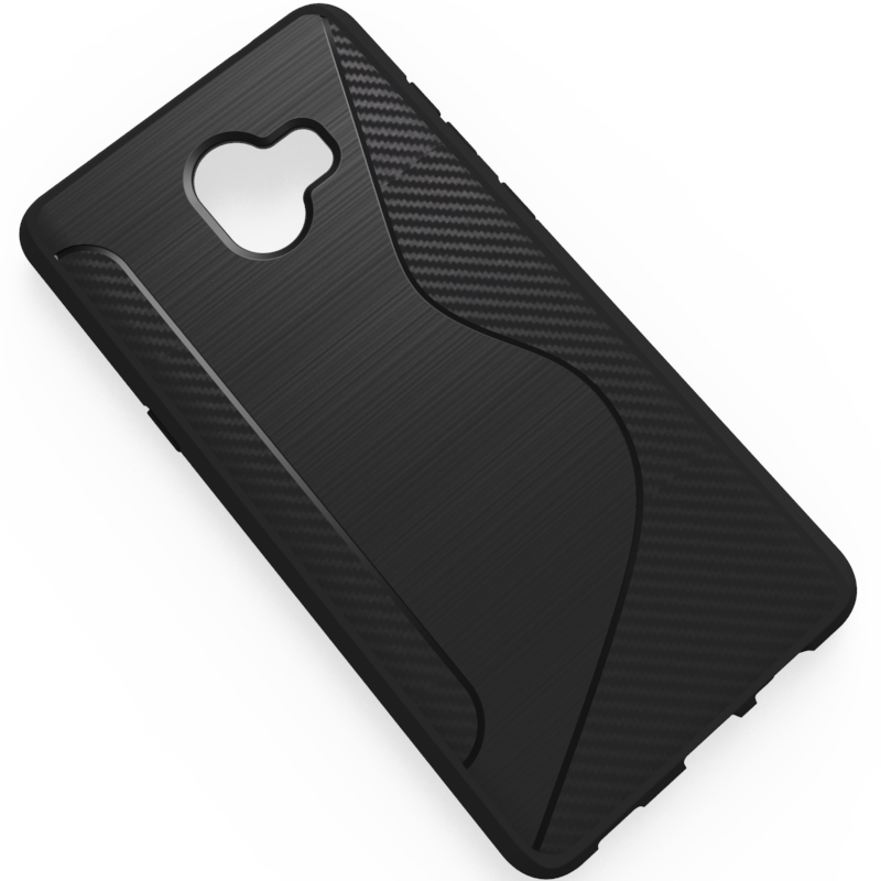 S type design shell TPU anti impact fine wire drawing back cover case for samsung <strong>c10</strong> plus