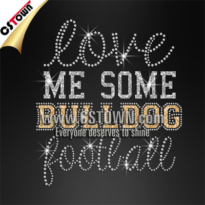 Love me some bulldogs football rhinestone customized tshirt transfers