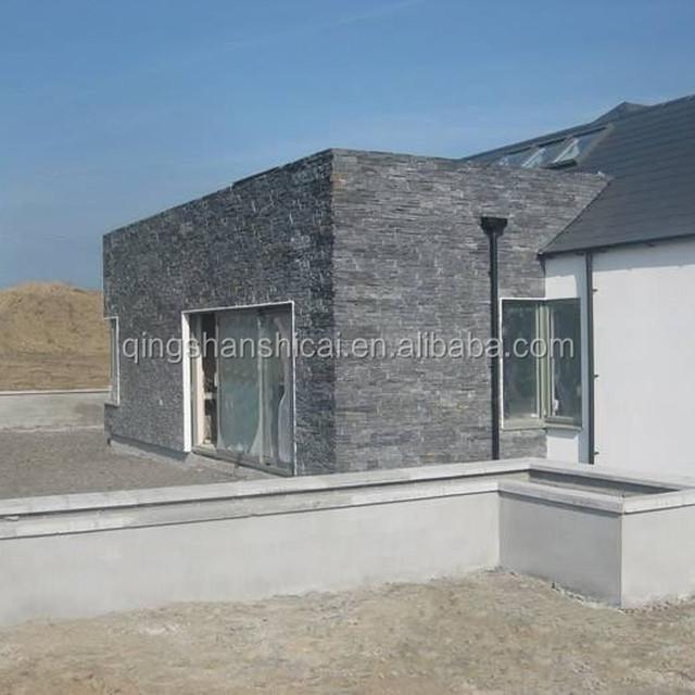 exterior Black Mica Schist glass Fibre cement ledgestone facing stone panels for facade