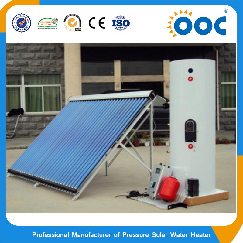 Split pressure indirect hot water storage tank with heat pipe solar collector