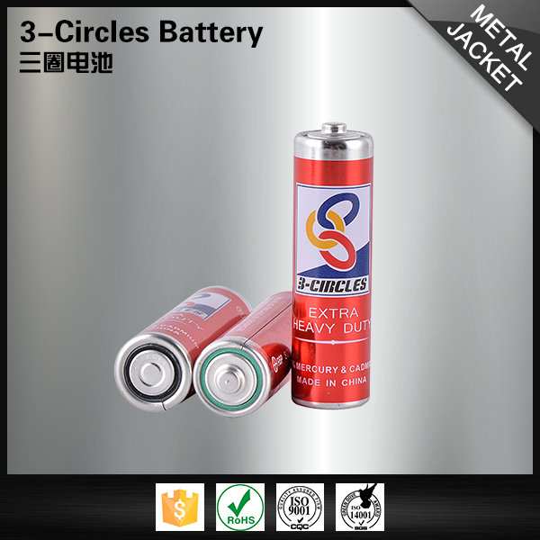 Metal jacket shrink wholesale powerful 1.5v r6 um3 aa battery