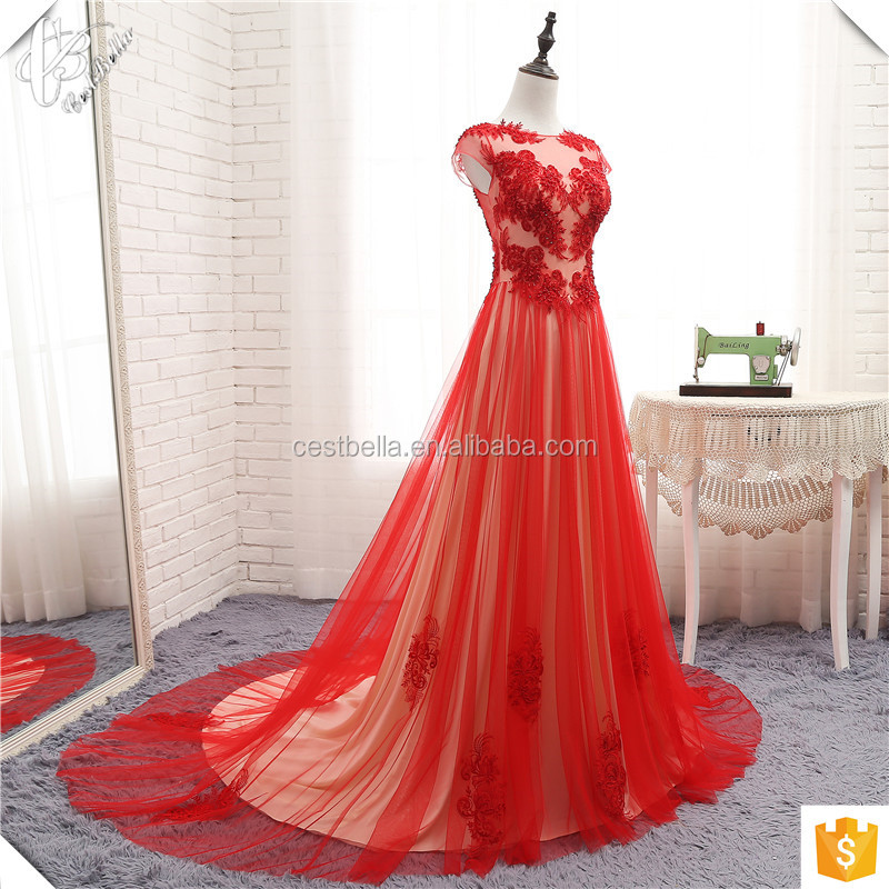 Hot Sale !! Real Picture Luxurious High Quality See Through Beaded Red Long Wedding Dress Evening Gown