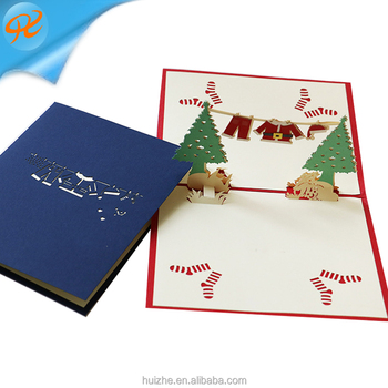 Manufacturers of Christmas gifts three - dimensional greeting cards creative DIY paper carved birthday card wholesale custom