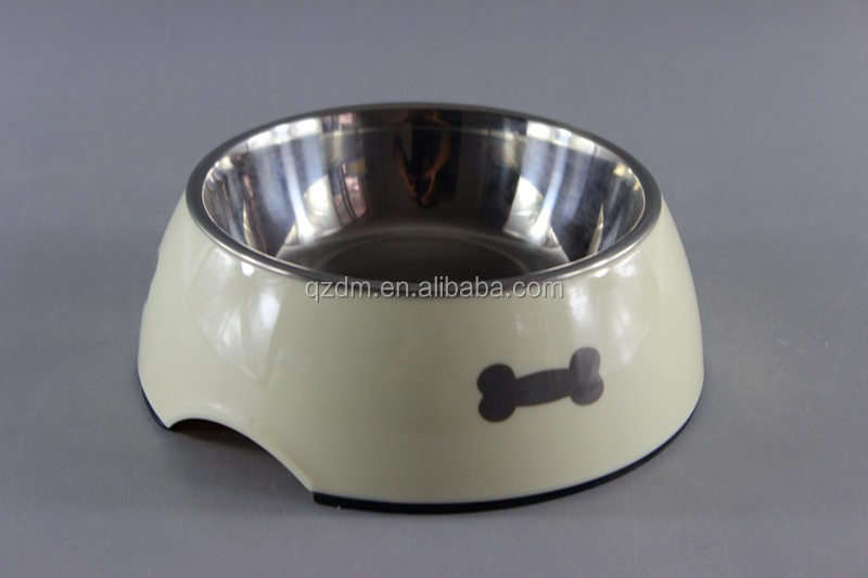 Melamine Dog Bowl Pet Bowl With Rubber Ring And Stainless Steel Bowl Set