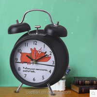 small battery operated time quartz metal twin bell mini alarm clock