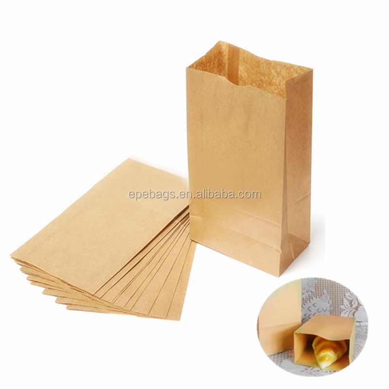 Recyclable Custom Printed Brown Kraft Paper Wrap Food Bread Sandwich Bag Gift Party Wedding Bags