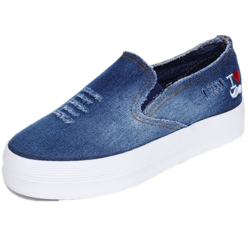 2015 spring and summer canvas shoes female Korean heavy-bottomed cowboy shoes a pedal lazy shoes students casual shoes