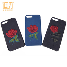2017 latest fashionable design exquisite custom embroidery logo PU embroidery phone case for iPhone 6