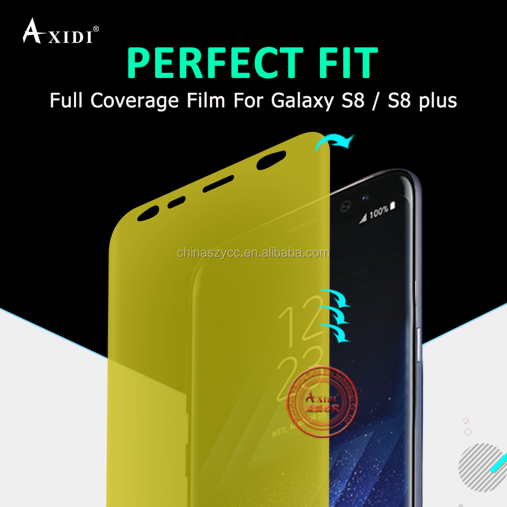 100% Easy Installation Yellow Full Cover Size Clear Screen protector For Samsung Galaxy S8 S8 Plus Edge to Edge Anti-Bubble Film