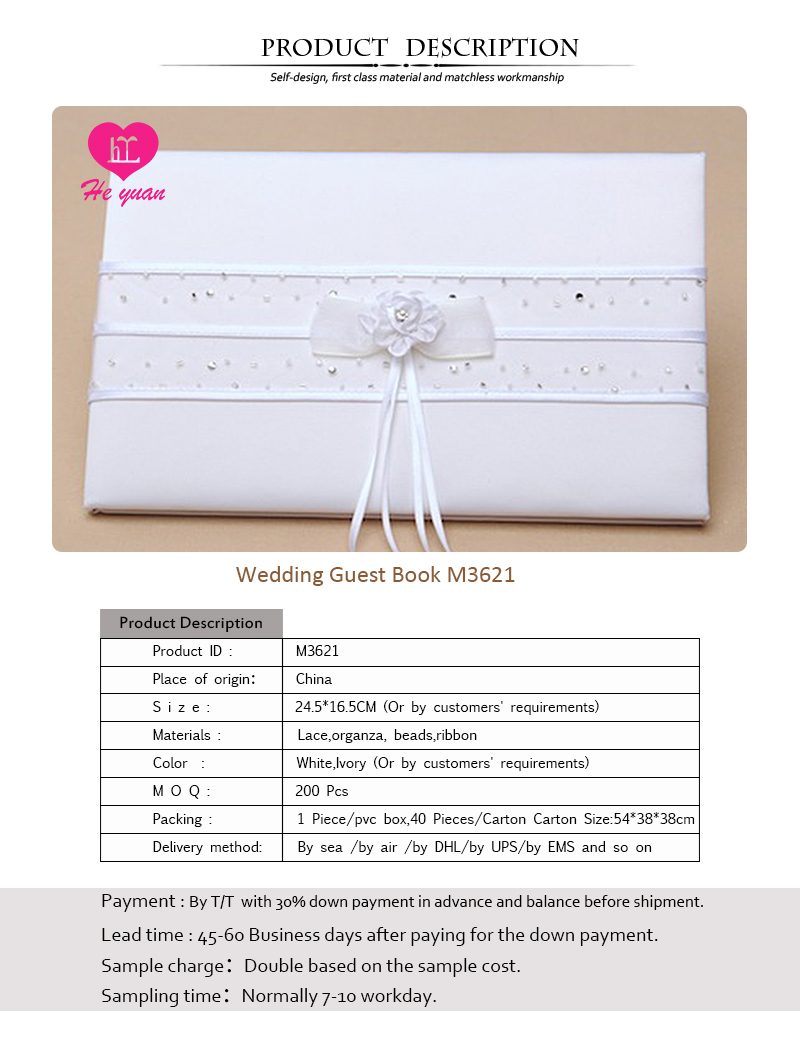 M3621 The yarn overlock sewing little pearl wholesale guest book