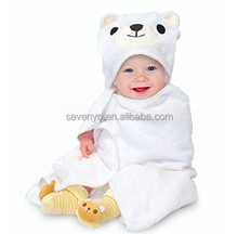 All Cotton Polar Bear Bath Towel with Washcloth and Socks,made of 100% Natural Organic Cotton,Perfect Gift for Boys/Girls/Babys