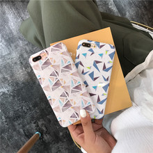New Design IMD Baked Procelain Soft Phone Case for iphone 7 Glaze Geometric Figure Silicone Drop Resistance Cover for iphone 6s