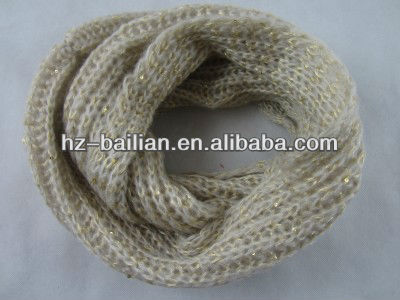 Gold lurex yarn inter weaved scarves and neckwears