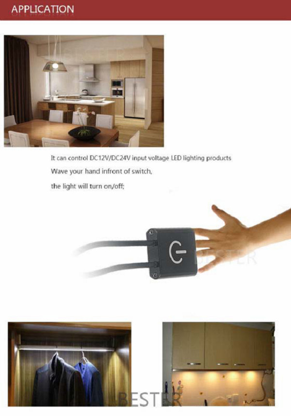 Hand waving sensor switch IR sensor for kitchen cabinet/wardrobe/closet/display cabinet/mirror /shelf China supplier 2015
