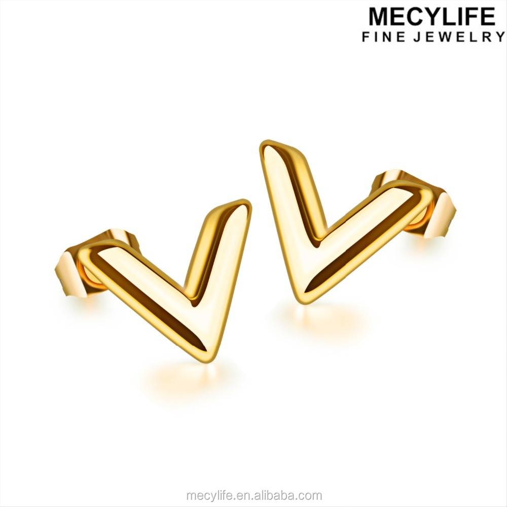 MECYLIFE 2017 Newest Jewelry Stainless Steel V Jewelry 18K Gold Earrings