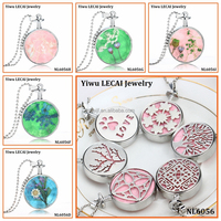 Real Dry flower pendant jewelry essential oil diffuser necklace with Flowers