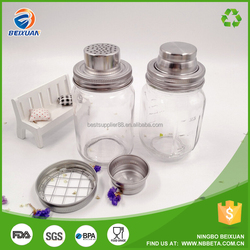 Hot Sell Glass Cocktail Shaker with Stainless Steel Lid Glass Fruit Juice Shaker
