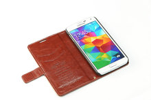 2014 bulk flip wallet leather phone case for samsung s5 in stock